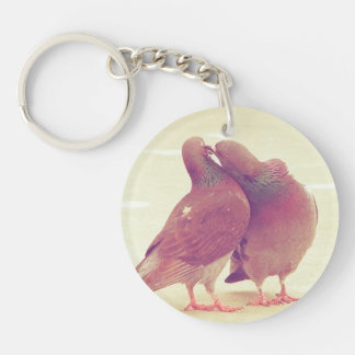Retro Pigeon Love Birds Kissing Couple Photo Key Ring