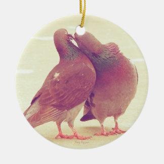 Retro Pigeon Love Birds Kissing Couple Photo Round Ceramic Decoration