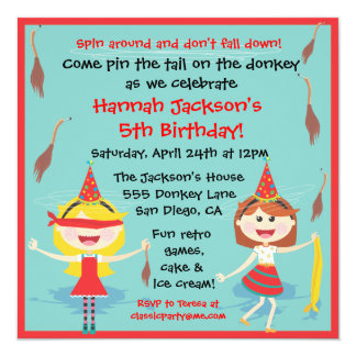 Retro Pin the tail on the Donkey Birthday Party 13 Cm X 13 Cm Square Invitation Card