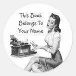 Retro Pin Up Bookplate Round Stickers