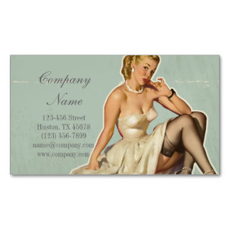 retro pin up girl beauty salon hair makeup artist magnetic business cards