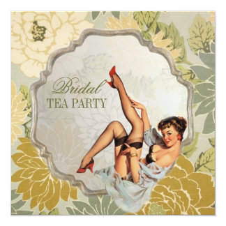 retro pin up girl floral Bridal Shower Tea Party 13 Cm X 13 Cm Square Invitation Card