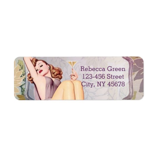 retro pin up girl floral Bridal Shower Tea Party Return Address Label
