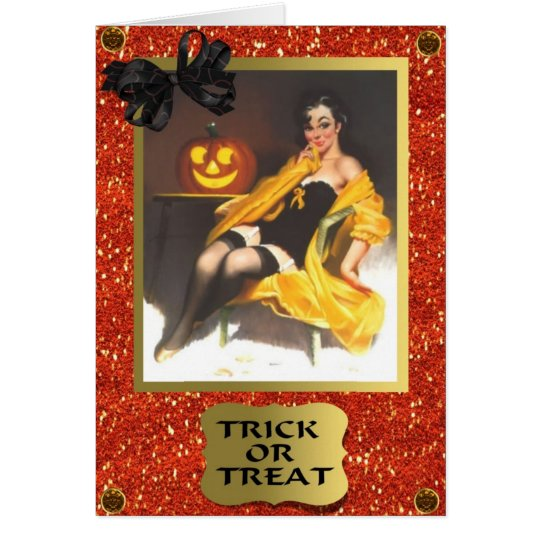 RETRO PIN UP GIRL HALLOWEEN CARD