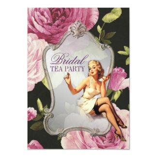 retro pin up girl rose Bridal Shower Tea Party 11 Cm X 16 Cm Invitation Card