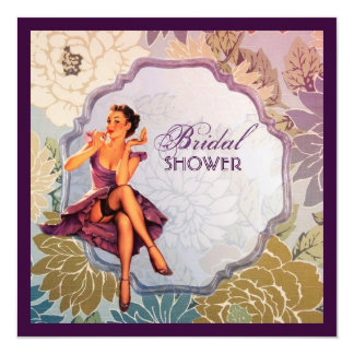 retro pin up girl rose Bridal Shower Tea Party 13 Cm X 13 Cm Square Invitation Card