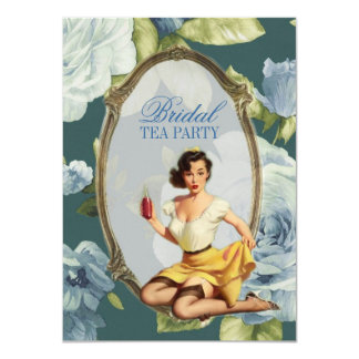 retro pin up girl rose Bridal Shower Tea Party Card