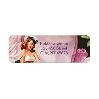 retro pin up girl rose Bridal Shower Tea Party Return Address Label