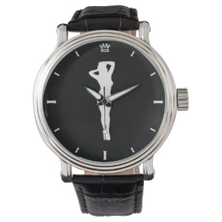 Retro pin up watch, black face wristwatch