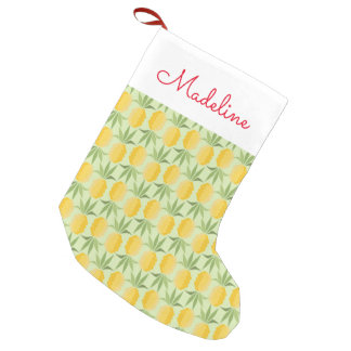 Retro Pineapples   Add Your Name Small Christmas Stocking