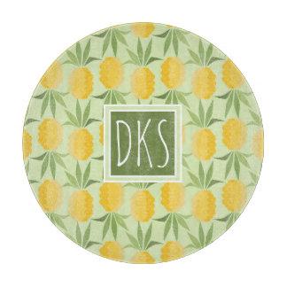 Retro Pineapples   Monogram Cutting Board