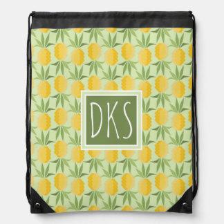 Retro Pineapples | Monogram Drawstring Bag
