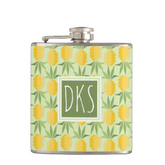 Retro Pineapples | Monogram Hip Flask