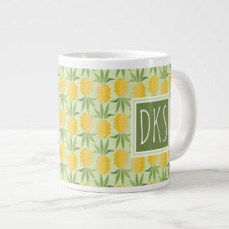 Retro Pineapples | Monogram Large Coffee Mug