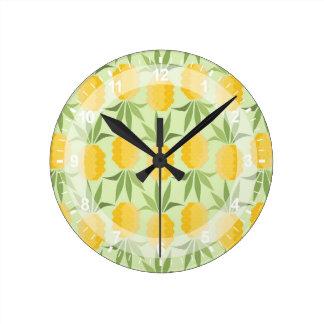 Retro Pineapples Round Clock