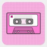 "Retro Pink 80""s Mixtape Square Sticker"