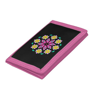 Retro Pink and Black Neon Floral Design Wallet