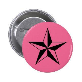 Retro Pink and Black Stars 6 Cm Round Badge