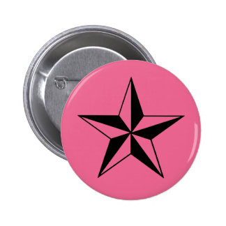 Retro Pink and Black Stars 6 Cm Round Badge