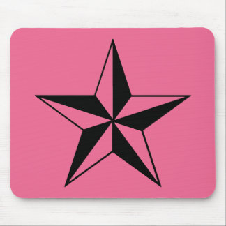 Retro Pink and Black Stars Mouse Pad