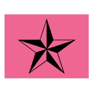 Retro Pink and Black Stars Postcard