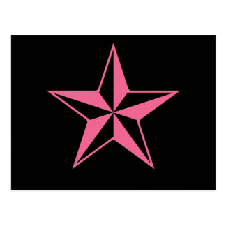 Retro Pink and Black Stars Postcard