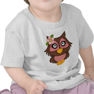 Retro Pink and Brown Owl Tee Shirt