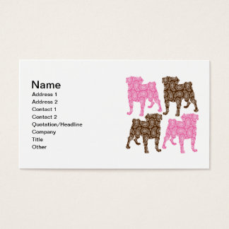 Retro Pink and Brown Paisley Pugs Business Card