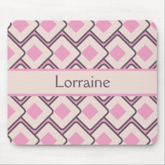 Retro Pink and Cream Diamond Design Mouse Pad
