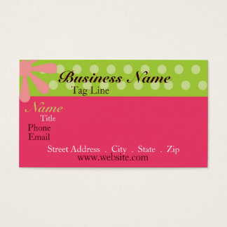 Retro Pink and Green Business Card