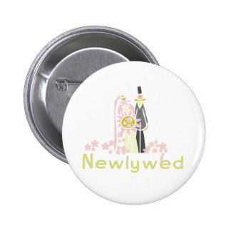 Retro Pink and Green Newlywed Pinback Buttons
