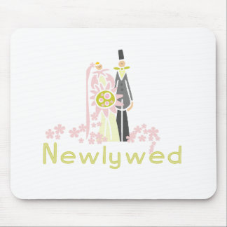 Retro Pink and Green Newlywed Mouse Pad