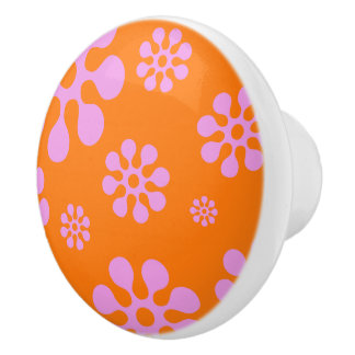 Retro Pink And Orange Flower Pattern Ceramic Knob