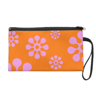 Retro Pink And Orange Hippie Flowers Bag Wristlets