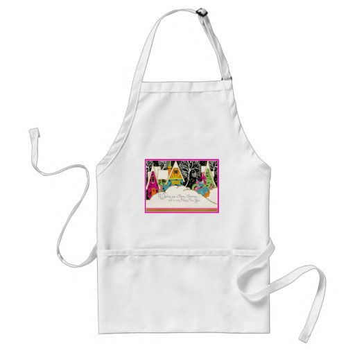 Retro Pink and Turquoise Christmas Houses Aprons