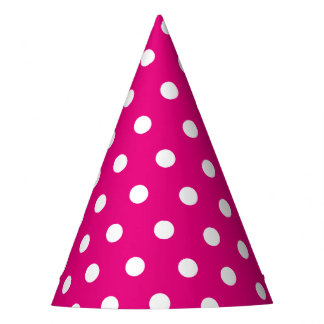 Retro Pink and White Dots Party Hat