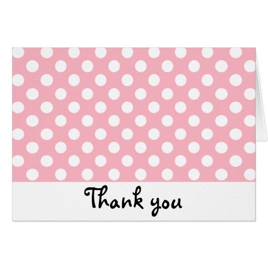 Retro Pink and White Polka Dot Thank You Notes