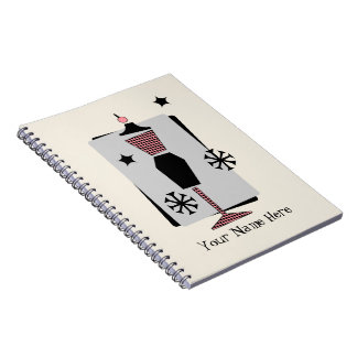 Retro Pink & Black Dress Form Mannequin Notebook