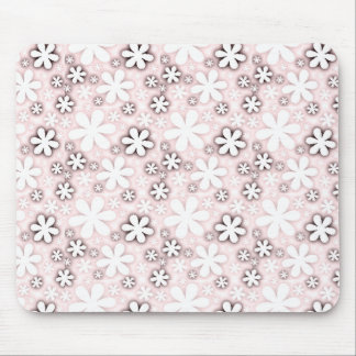 retro pink black flowers mouse pad