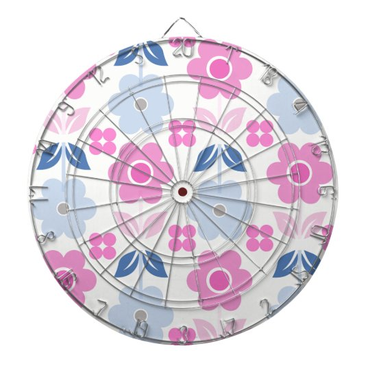 Retro Pink/blue Flowers Dartboard
