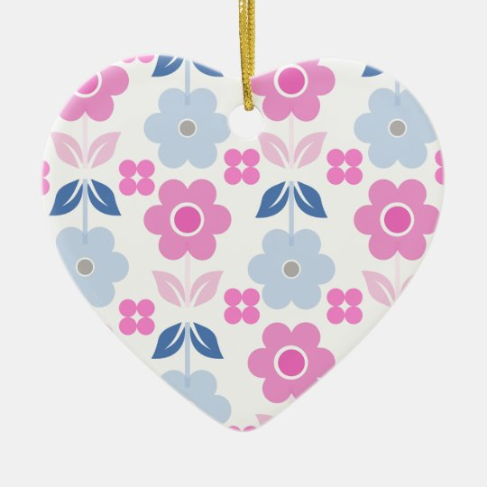 Retro Pink/Blue Flowers Dble-sided Heart Ornanent Christmas