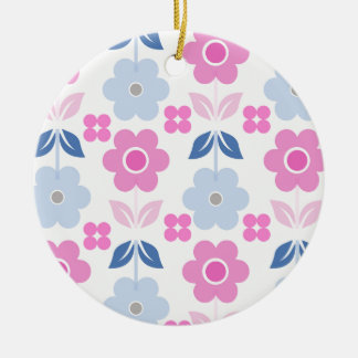Retro Pink /Blue Flowers Dble-sided Ornament