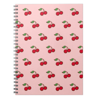 Retro Pink Cherry School Notebook Journal Gift