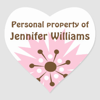 Retro pink cornflower property labels