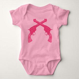Retro Pink Crossed Pistols Baby Bodysuit