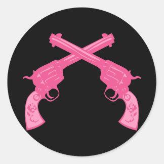 Retro Pink Crossed Pistols Round Stickers