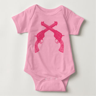 Retro Pink Crossed Pistols Tee Shirts