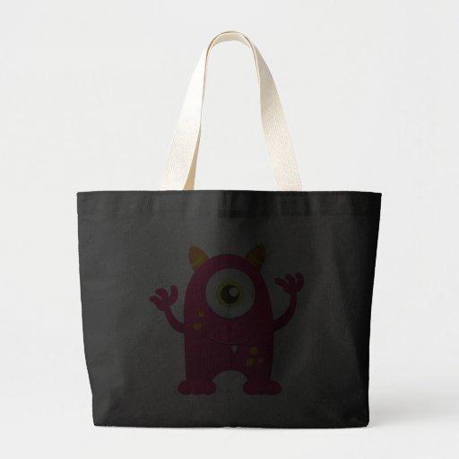 Retro Pink Cute Monster Tote Bags