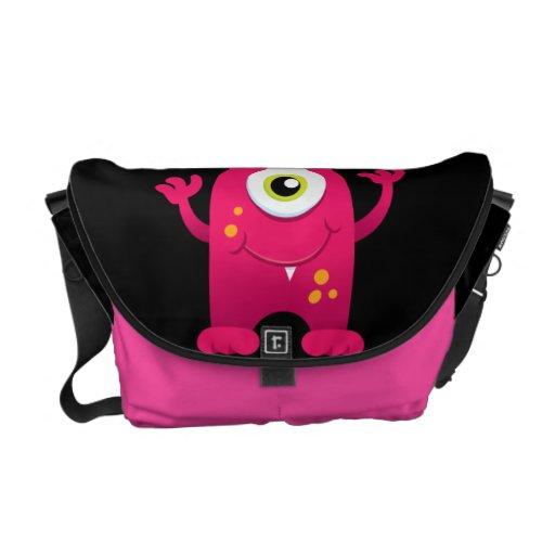 Retro Pink Cute Monster Messenger Bag