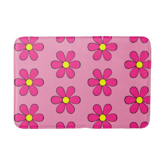 Retro Pink Daisy Cute Summer Bathroom Rug Bath Mat Bath Mats